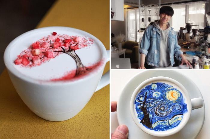 L'artista coreano al lavoro nella sua caffetteria