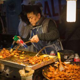 Venditore di cibo di strada in Corea del Sud