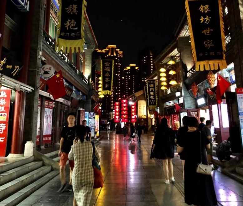 La ancient culture street di Tianjin, bellissima soprattutto di sera.